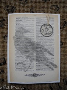 Pencil Sketched Crow on an Old Dictionary Page