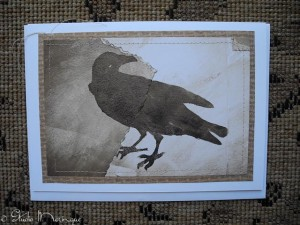 Art Journal Crow, Stitched On Card